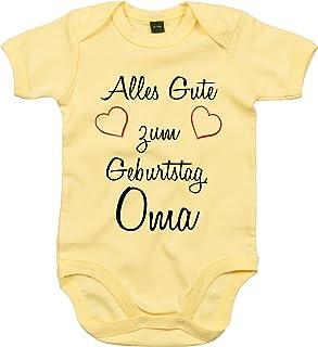 Mister Merchandise Mister Merchandise Baby Body Alles gute zum Geburtstag, Oma Strampler liebevoll bedruckt Glückwunsch Gelb, 0-3