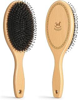 BESTOOL ヘアブラシ 豚毛 レディース メンズ こども パドルブラシ くし 人気 木製 櫛 ヘアケア 高级 コーム サラサラ 艶髪 絡まない 髪質改善