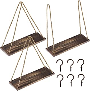 Supla 3 Pack Hanging Rustic Rope Shelf Wall Floating Shelves Swing Shelves Wooden Suspended Shelf Jute Rope Display Shelf Book Shelves 17.7 x 5 x 21 and 6 Pcs Cup Hooks in Rubbed Bronze