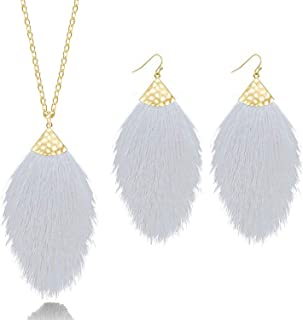 Tassel Necklace and Earring Sets for Women Boho Colorful Feather Fringe Dangle Earrings and Necklace for Women