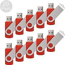 RAOYI 20pcs 4GB USB Flash Drive Red Pen Drive Thumb Drive USB 2.0 Memory Stick Swivel Design