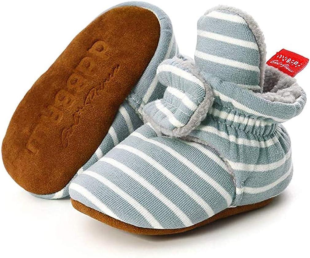 Unisex Newborn Baby Cotton Cozy Fleece Booties Non-Slip Sole for Toddler Boys Girls Infant Winter Warm Fleece Socks First Walker Crib Shoes (C-Stripe Blue, 6-12 months)