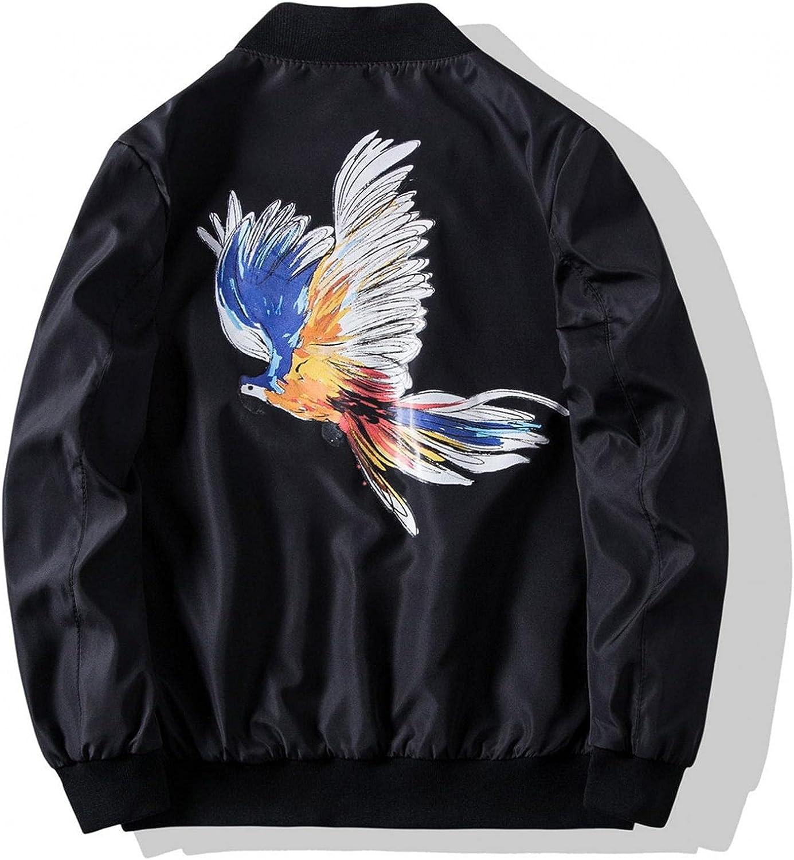 HGOOGY Men's Eagle Printed Jacket, Casual Windbreaker Zipper Bomber Jacket Outdoor Lightweight Baseball Outerwear