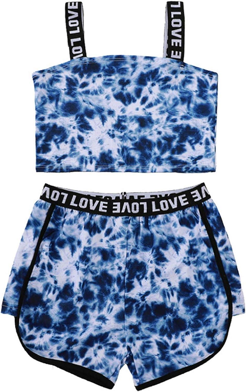 Little Finally resale start Girls Tie Dyed Outfits Halter Su + Tops Shorts 2Pcs Award-winning store
