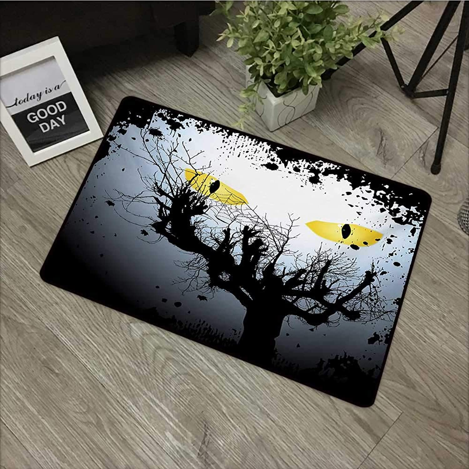 Bedroom Door mat W35 x L59 INCH Horror House,Scary Eyes Backgrounded Leafless Old Branch Angry Hunt Cat Animal Creature,Yellow Black Non-Slip, with Non-Slip Backing,Non-Slip Door Mat Carpet