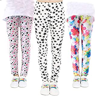 Ehdching 2 Pack Girls Stretch Legging Pants Children Kids Printed Flower Classic Full Length Trousers for 4-12 Years Old