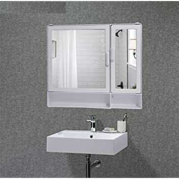 Charlie Kingfisher Bathroom Cabinet with Storage 8 Shelves and Mirrors Model (White, Standard Size) 2 Door