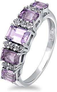 Green Emerald, Blue Sapphire, Sky Blue Topaz, Red Garnet, Purple Amethyst 2.04 Ct Octagon 925 Sterling Silver 5 Stone Ring...