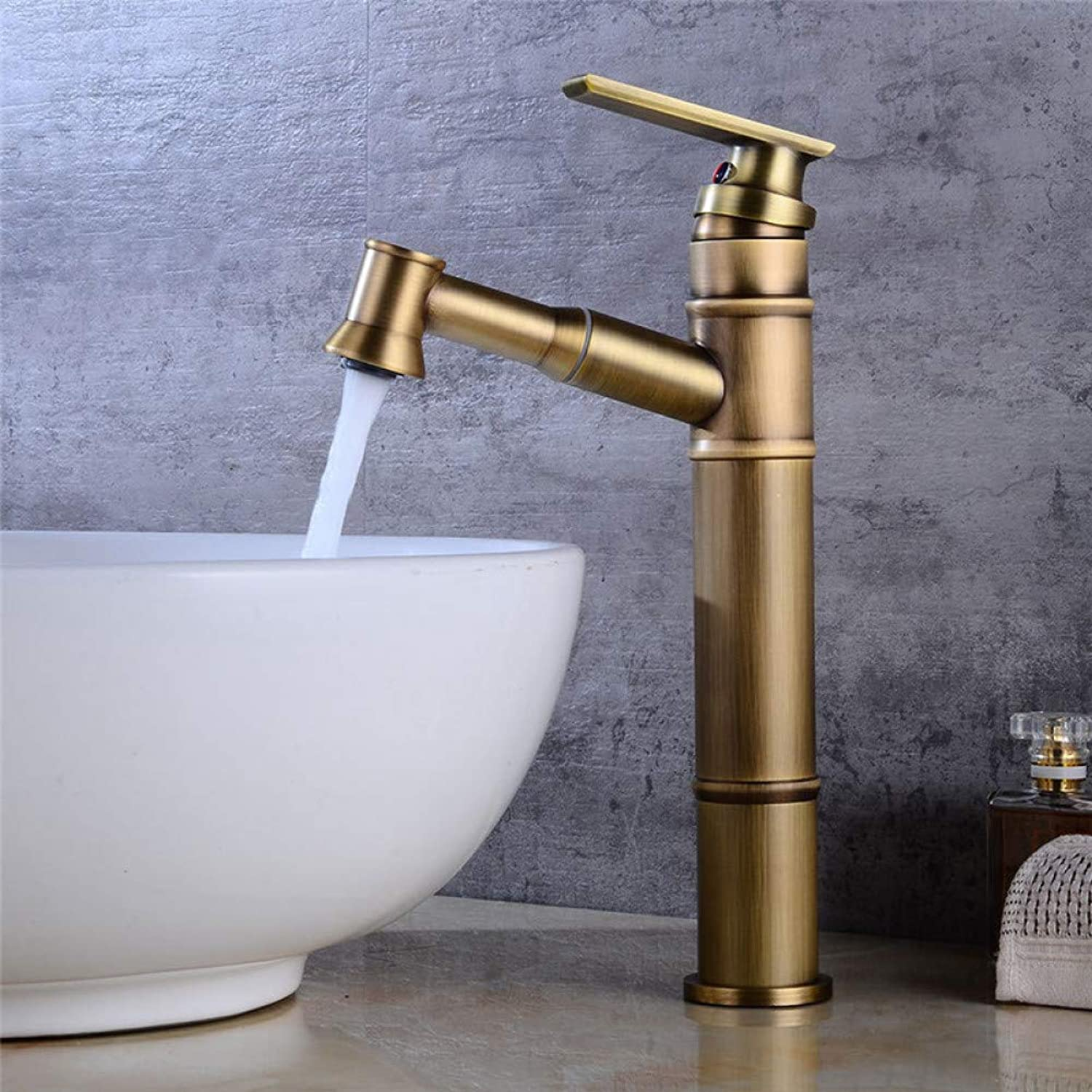 Bathroom Sink Taps YHSGY Bathroom Basin Faucet Antique Brass Sink Mixer Tap Single Hole Hot Cold Crane Pull Out Shower Head Basin Faucet Torneira Grifo