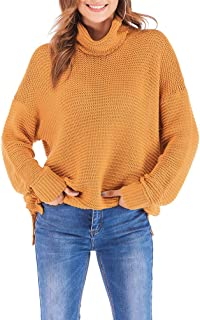 ECHOINE Womens Pullover Knitted Sweater Dress Tunic Tops Sweatshirts Loose Long Sleeve Highneck