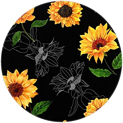 Round Area Rug,Doormats,Carpet,Non Slip for Entryway Living Room Bedroom,Flowers Black Background