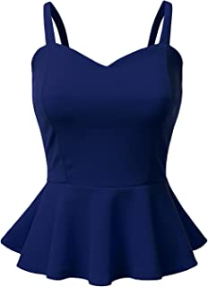 Sleeveless Solid & Printed Peplum Top for Women with Plus Size