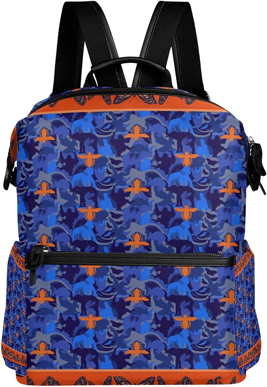 LORVIES Butterflys and Elephants School Rucksack Travel Backpack
