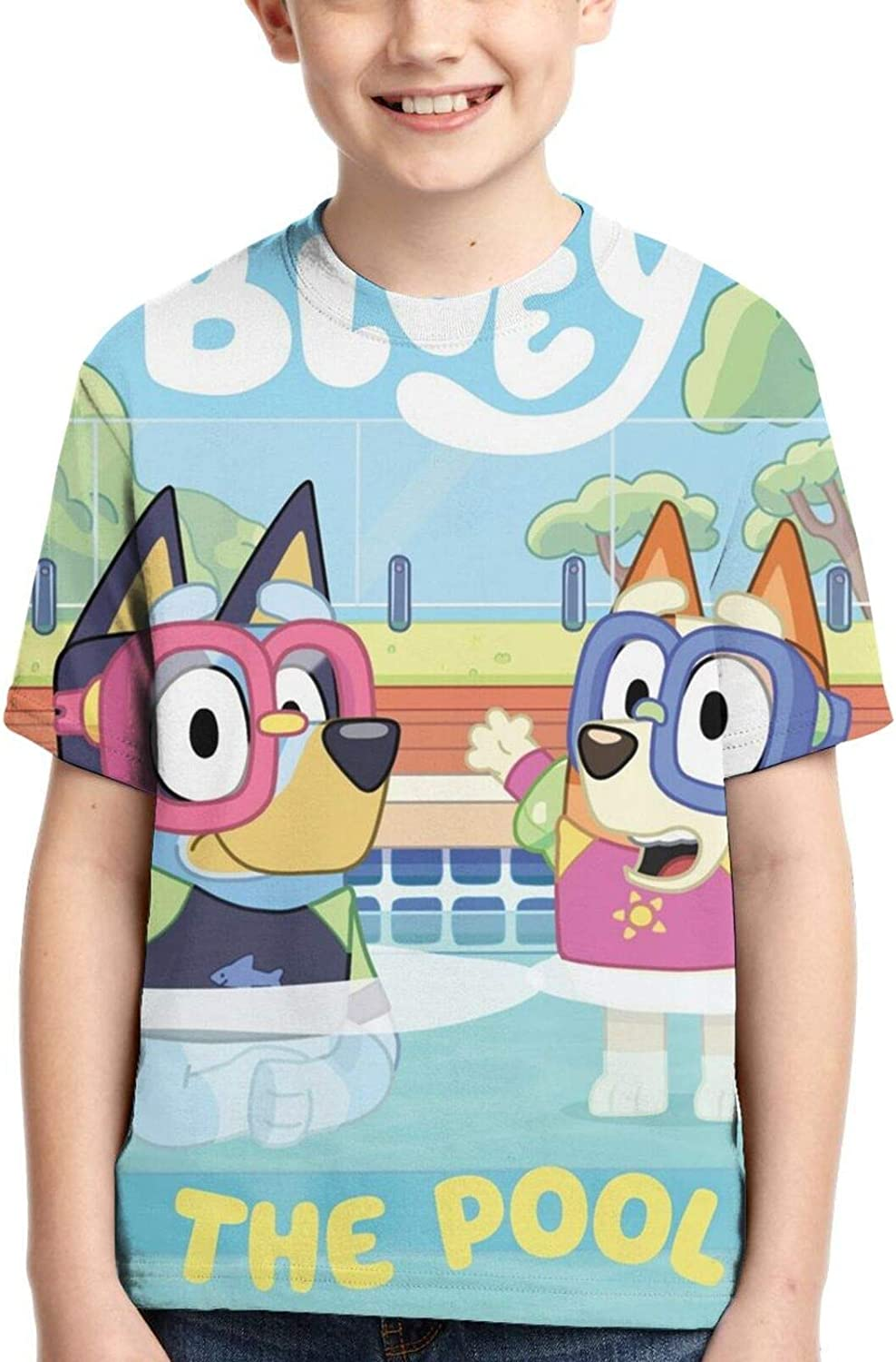 Blu-Ey Teenage Children Short-Sleeved Top Printed T-Shirt Boys and Girls Round Neck Casual.