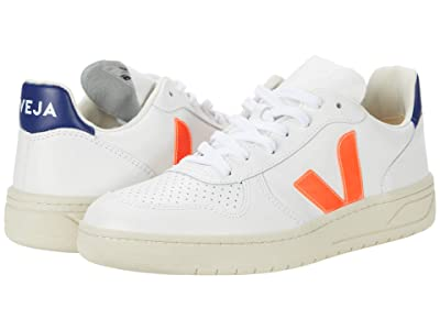 VEJA V-10 (Leather Extra White/Orange/Fluo/Cobalt) Men