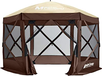 MASTERCANOPY Escape Shelter, 6-Sided Canopy Portable Pop up Canopy Durable Screen Tent Bug and Rain Protection (7-9 Persons), (140''x140'', Beige&Coffee)