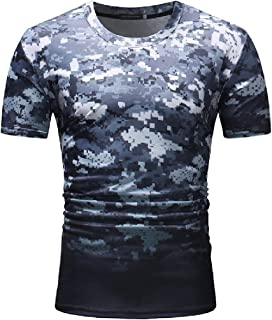 Shirts Mfasica Mens Silm Fit Striped Short Sleeve Causal Hit Color Tees Top