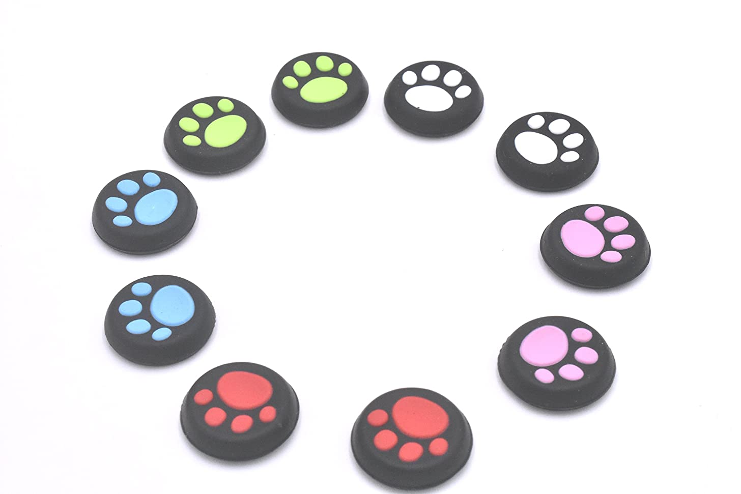 5 Pairs Replacement Cat Pad Style Silicone Analog Controller Joystick Thumb Stick Grip Cap Cover for PS4,PS3,Xbox 360,Xbox One Controller