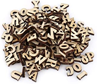 Mixed Wooden Alphabet A-Z Letters 0-9 Numbers Unpainted DIY Decorations Kids Early Educational Learning Toys Games 200Pcs (Letters)