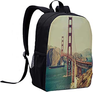 Vintage Multi Function Backpack,Old Film Featured Golden Gate Bridge Suspension Urban Path Construction Scenery for Office,12″L x 5″W x 17″H