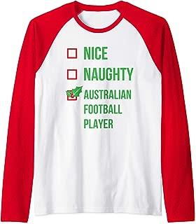 Australian Football Player Funny Pajama Christmas Gift Raglan Baseball Tee