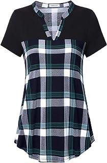 Liamluna Women's Henley V Neck Stitching Color Block Plaid Tunic Shirt