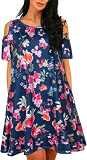 KENANCY Women Casual Print Cold Shoulder Short Sleeve T-Shirt Swing Plus Size Dresses with Pockets