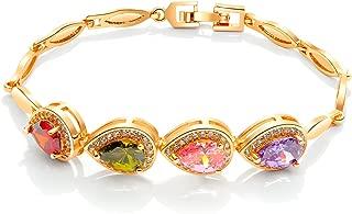 NEVI Multicolor Zirconia 18K Gold Plated Single Strand Bracelet for Women & Girls