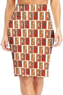 Women High Waist Bodycon Midi Pencil Skirt Merry Christmas Krampus Vintage Slim Skirt