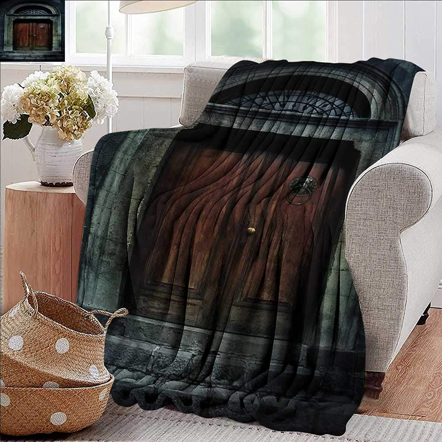 Weighted Blanket for Kids,Gothic,Photo of Antique Aged Wooden Door of Dark Haunted Old House Gothic Style Night Theme,Grey Brown,Weighted Blanket for Adults Kids, Better Deeper Sleep 50 x60