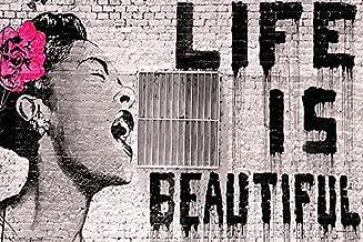 Buyartforless Banksy - Life is Beautiful 36x24 Urban Graffiti Art Print Poster