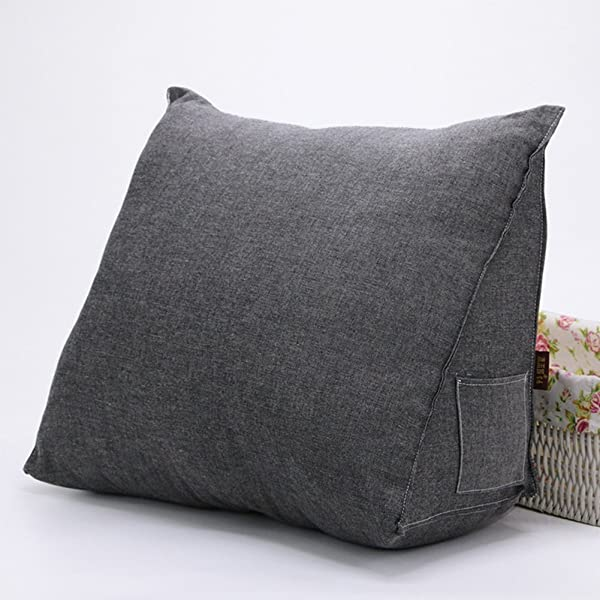 WOWMAX PP Cotton Filled Triangular Wedge Pillow Positioning Support Reading Backrest Cushion For Sofa Bed Day Bed And Upholstered Headboard With Removable And Washable Cover Gray 23x21x 8 5 Inch