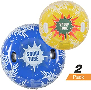 HIWENA Snow Tubes, Inflatable Snow Tubes for Family with 2 Higher Handles, Heavy Duty Snow Sled for Adults, and Snow Toy for Kids, 48 and 37 Inch Snowflake Snow Tubes (2 Pack)