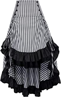 Striped Steampunk Gothic Victorian High Low Skirt Bustle Style