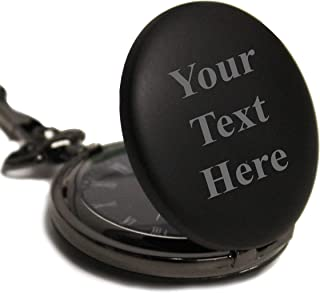 Custom Personalized Black Matte Pocket Watch with Chain - Customized with Your Text