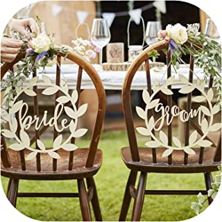 Solarphoenix Olive Wreath Wedding Newly Married Couples Mr & MRS; Chair Signs, Wedding Bride and Groom Wooden Chair Signs,mr and mrs