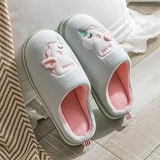 Zapatillas De Casa Para Mujer,Otoño E Invierno Cartoon Antideslizante Unicorn Luz Cálida Felpa Verde Zapatillas De Algodón Suave Silencio Inferior Zapatillas De Casa Habitación Interior Zapatos Za