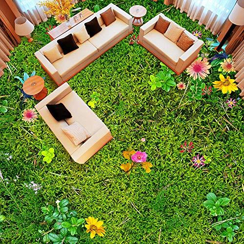 Suelo 3D Suelo impermeable Murales de suelo 3D personalizados Flores Hierba Césped Sala de estar Dormitorio Balcón Impermeable Autoadhesivo Decoración de suelo Mural Pvc Wallpaper-350 * 245Cm Para c