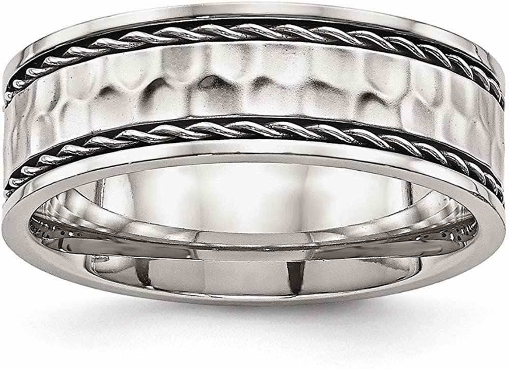 Solid Stainless Steel Men's Hammered Comfort Back Wedding Band Ring