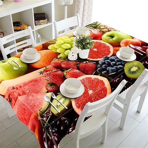 HUANZI Frucht Tischdecke Staubdicht 3D Tischdecke Umweltschutz, Rectangular Width 178cmx Long 274cm