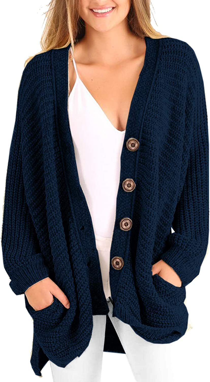 Womens Plus Size 100% quality warranty! Cardigan Oversized Knit Button Limited price Down Chunk Cable