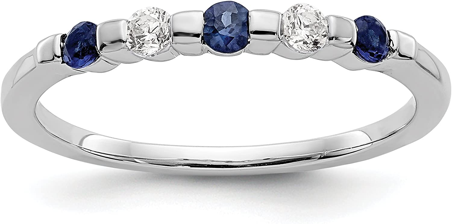 14k White Gold New product type Diamond with Sapphire Ring Size 7 Band Animer and price revision Wedding