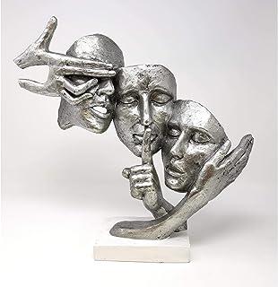 Exclusif Buste décoratif Sculpture Paire en céramique Noir/argent Hauteur 37cm