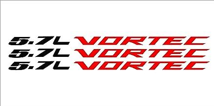 Red 5.7 Liter Silver Vortec Hood Cowl Vinyl Decal Emblem Fits Chevy Silverado GMC Sierra Avalanche 0079