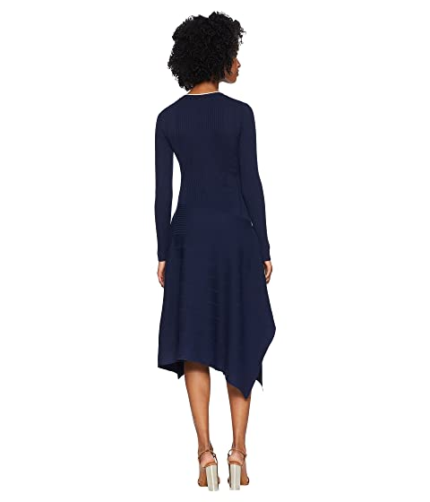 medianoche azul manga vestido redondo Sportmax Gerba color larga cuello de con Zp1pBw