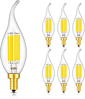 CRLight 6W Dimmable 70W Incandescent Equivalent, 700LM LED Candelabra Bulb 5000K Daylight White, E12 Base LED Chandelier Light Bulbs, Antique Edison Style Clear Glass C35 Candle Flame Tip, 6 Pack