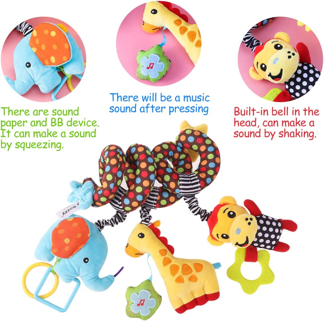 Toyvian Spiral Bed Stroller Toy Lovely Monkey Elephant Educational Plush Toy for Kid Baby Infant