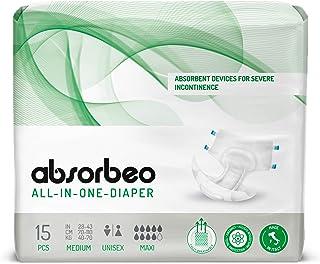 Absorbeo W26MM4100ND-15 - All-In-One Luaper Maxi - Unisex Absorberende Apparaten voor Ernstige Incontinentie, Maat M (15 s...