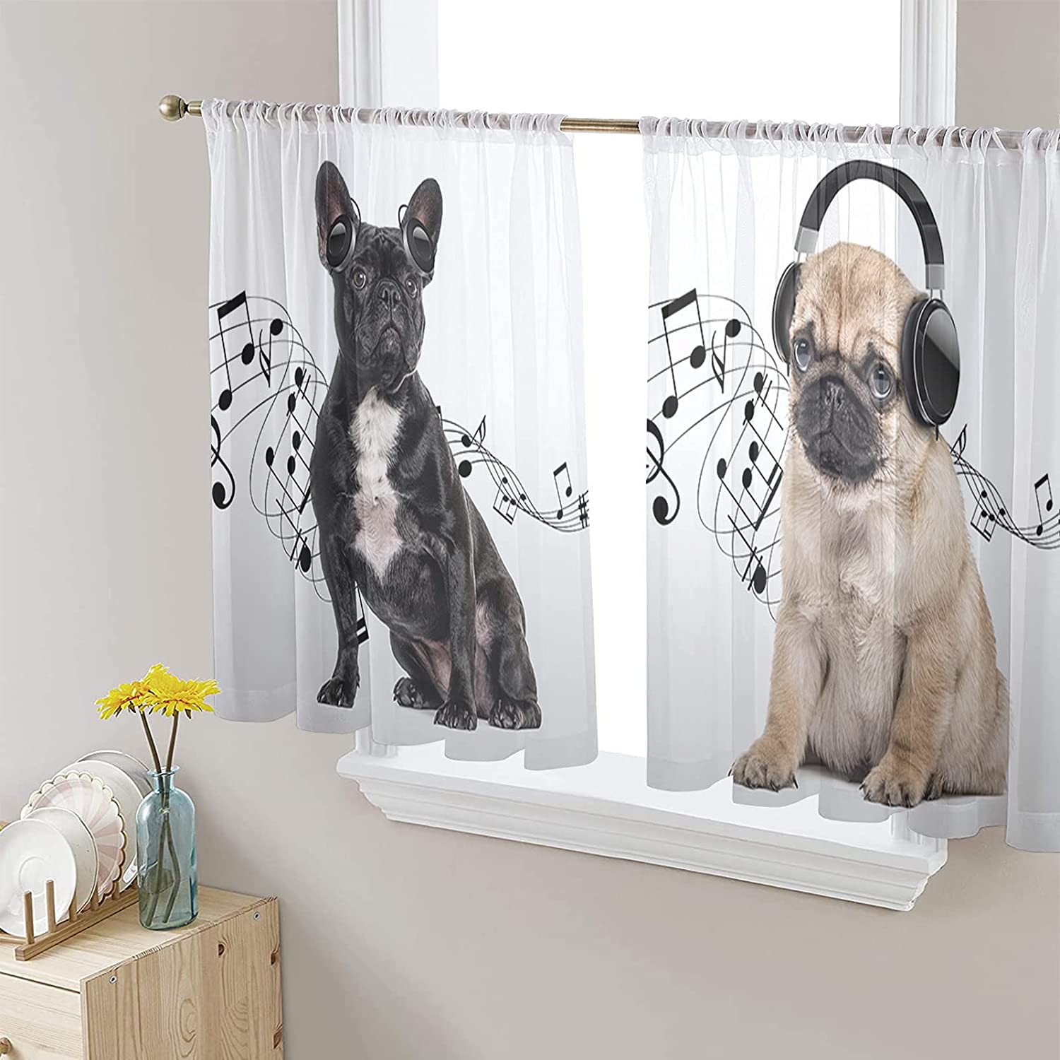 Semi Voile Sheer Window Curtains Baby to Fort Worth Mall Branded goods Music Ro Listening Dog