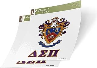 Desert Cactus Delta Sigma Pi Crest & Letter 2-Pack Sticker Decal Greek for Window Laptop Computer Car (Crest Sticker)